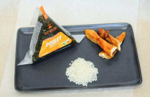 Présentation de l'onigiri au poulet So'Nigiri