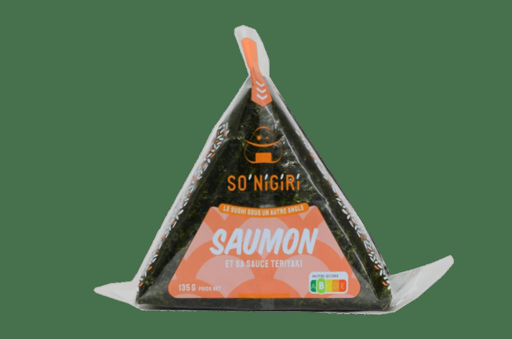 Photo détourée d'onigiri au saumon